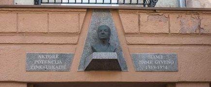 THE COMMEMORATIVE PLAQUE AND BUST TO POTENCIJA PINKAUSKAITĖ
