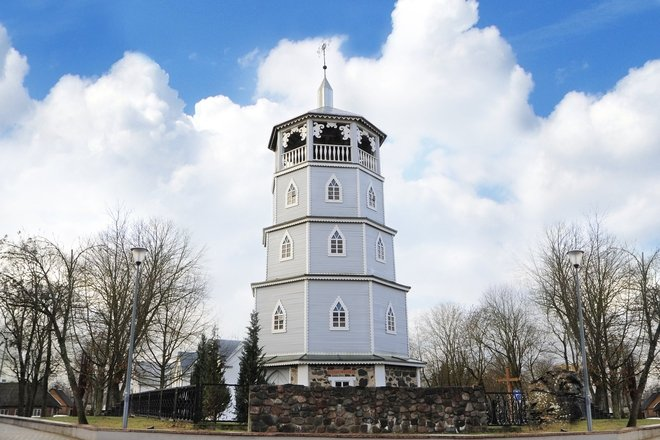 THE WOODEN CAMPANILE OF THE CHURCH OF ST. VIRGIN MARY