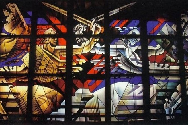 STAINED GLASS THE BATTLE OF THE SUN